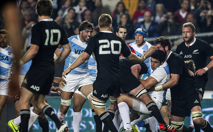 FILE: Argentina's Pumas and All Blacks in action during their Rugby Championship clash. Picture: @lospumas/Twitter.