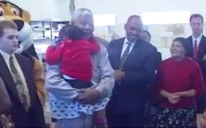 """FILE: A screengrab of a video showing former President Nelson Mandela singing """"Twinkle, twinkle little star""""."""