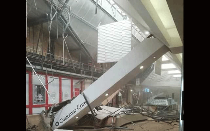 A part of the roof in Somerset Mall has collapsed on 5 August 2018. Picture: @_ArriveAlive/Twitter.