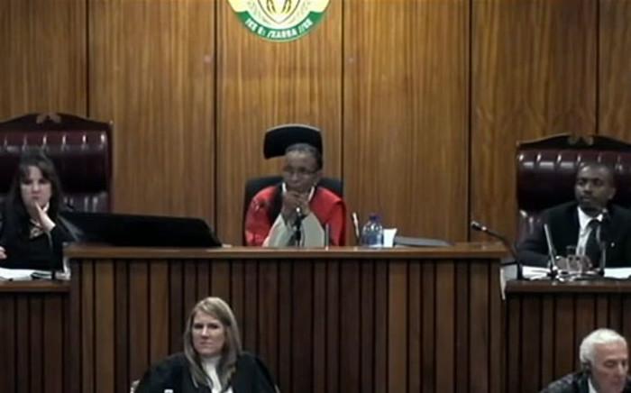 A screenshot from inside the court shows Judge Thokozile Matilda Masipa during the proceedings.