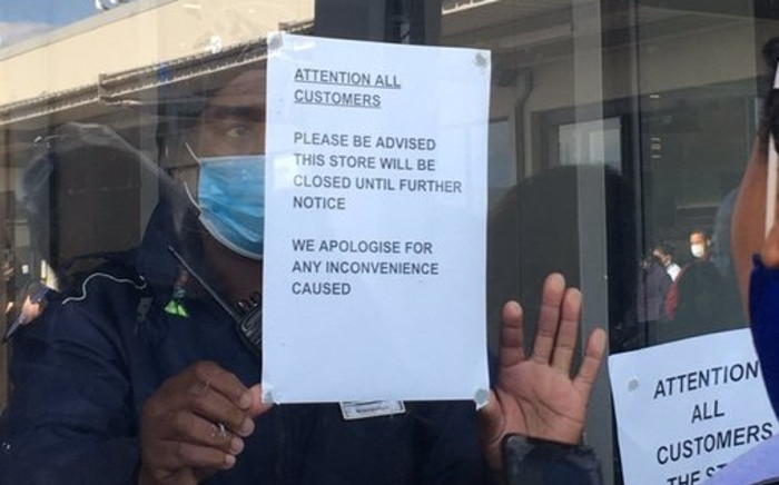 The Rylands Checkers store was closed on 15 May 2020 after workers went on strike over the sanitisation measures put in place after a case of the coronavirus was confirmed. Picture: Jarita Kassen/EWN