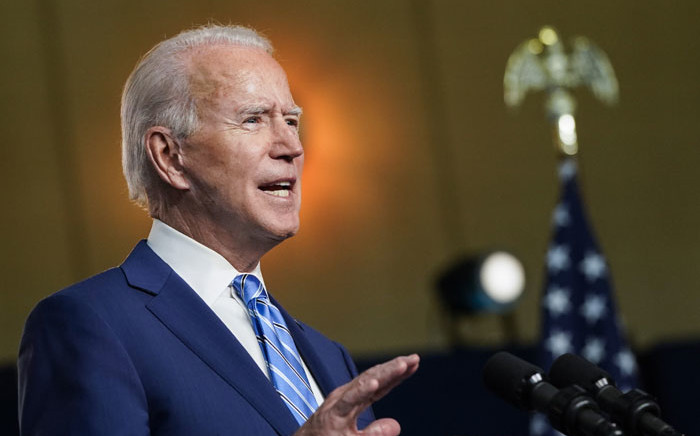 Democratic presidential nominee Joe Biden speaks the day after Americans voted in the presidential election Day on 4 November 2020 in Wilmington, Delaware. Picture: AFP
