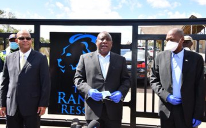 President Cyril Ramaphosa with Health Minister Zweli Mkhize outside the Ranch Resort near Polokwane where more than 100 South Africans repatriated from Wuhan have completed their 14-day quarantine programme. Picture: Twitter/Zweli Mkhize