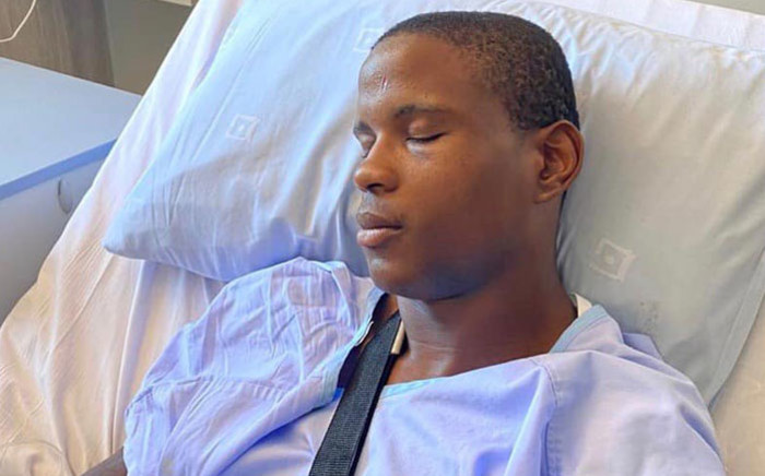 NTT Pro Cycling rider Nicholas Dlamini in hospital following his altercation with SANParks rangers on 27 December 2019. The altercation left him with a broken arm. Picture: @nicholasdla/Facebook