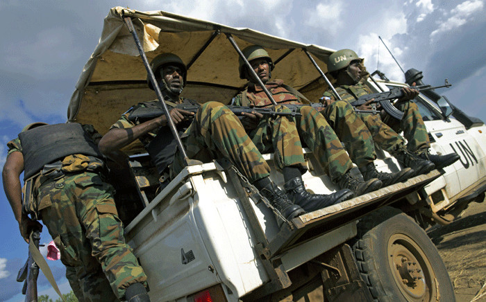 Peacekeeper troops from Ethiopia deployed by the United Nations Mission in South Sudan patrol outside the premises of the UN Protection of Civilians site in Juba, South Sudan, on 4 October 2016. Picture: AFP.