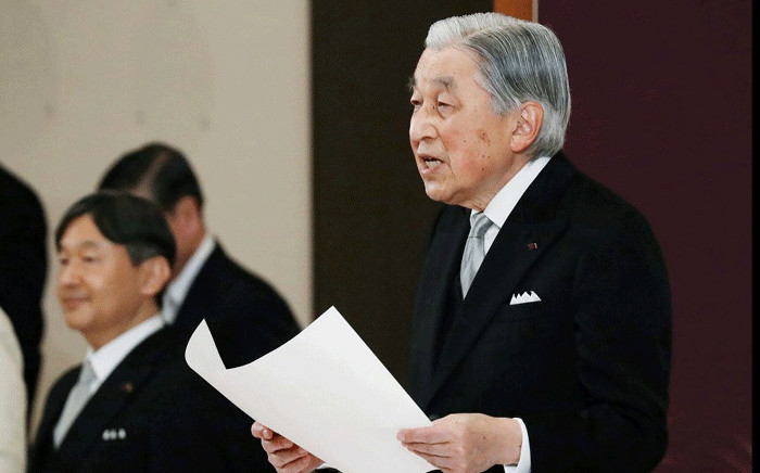 Japan's Emperor Akihito delivers his speech as Crown Prince Naruhito stands next to him during the abdication ceremony at the Matsu-no-Ma state room in the Imperial Palace in Tokyo on 30 April 2019. Picture: AFP
