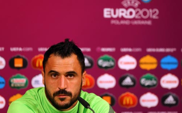 Portugal's player Hugo Almeida gives a press conference at the Donbass Arena in Donetsk on June 26, 2012 on the eve of their Euro 2012 football championships semi-final against Spain. Picture: AFP