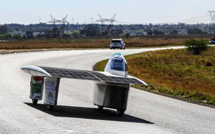 A solar-powered car participates in the 2016 Sasol Solar Challenge. Picture: Solarchallenge.org.za
