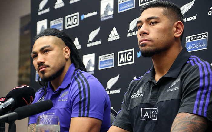 ll Black centre Ma'a Nonu (Left) and winger Charles Piutau at the New Zealand team announcement for the squad to take on the Springboks in the Rugby Championship Test in Johannesburg. Picture: Reinart Toerien/EWN