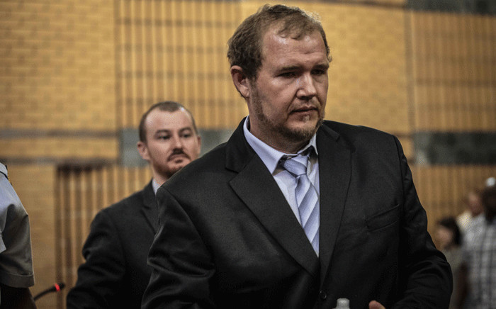 Pieter Doorewaard and Philip Schutte, the men convicted of killing 16-year-old Mathlomola Moshoeu in Coligny, appear in the North West High Court in Mahikeng for sentencing. Picture: Abigail Javier/EWN.