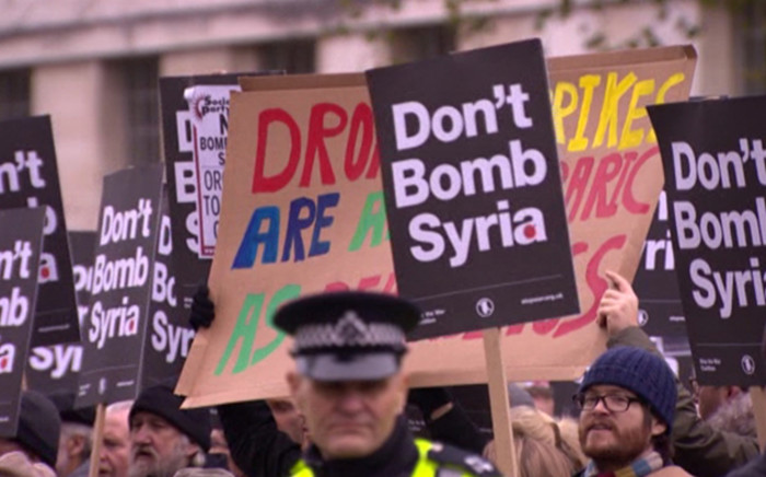 FILE. The masses took to the streets of London to protest against Syrian airstrikes. Picture: Supplied.