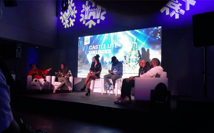 Emcees Bontle Modiselle and DJ Warras (C) host a panel discussion on what fans can expect at the 2019 Castle Lite Unlocks two-day event. Picture: Winnie Theletsane/EWN.