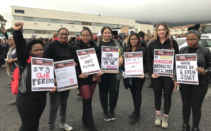 Women gathering in Keizersgracht Street in Cape Town to march against gender-based violence. Picture: Lauren Isaacs/EWN