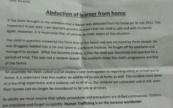 A grade four learner was drugged and abducted from his home in Woodstock. Picture: Supplied