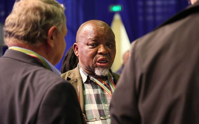 ANC Secretary General Gwede Mantashe shares a moment with FFPlus leader Pieter Mulder and Piet Croukamp. Picture: Christa Eybers/EWN.