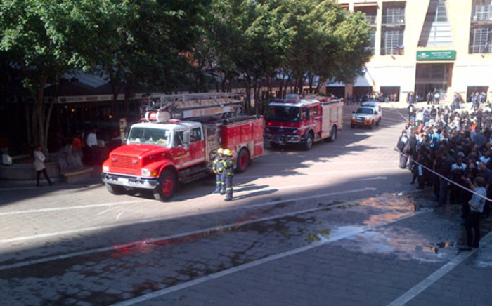 Fire engines on the scene of a restaurant fire in Nelson Mandela Square, Sandton. Picture: Wayne Gulan/iWitness