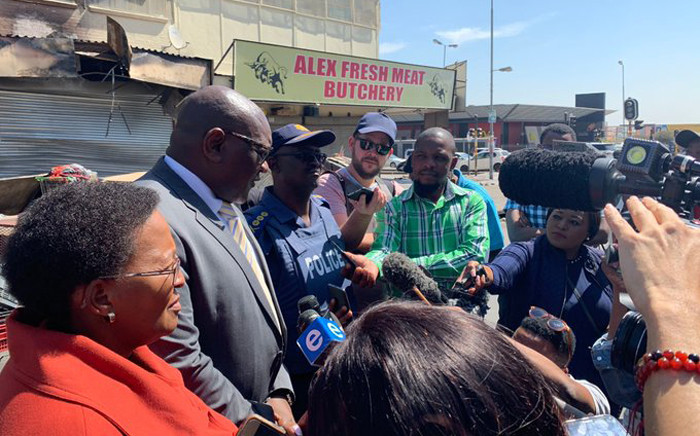 Gauteng Premier David Makhura was in Alexandra on 3 September 2019 together with Community Safety MEC Faith Mazibuko and Provincial Police Commissioner Elias Mawela following mass looting and violence that gripped parts of the township. Picture: @GautengANC/Twitter