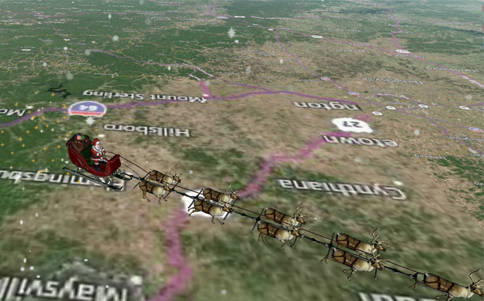 Each year NORAD has reported Santa's location to millions across the globe, with noradsanta.org this year live-tracking his present-filled sleigh pulled by nine reindeer. Picture: noradsanta.org