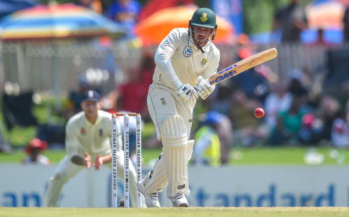 South Africa's Quinton de Kock (R) plays a shot during the first day of the first Test cricket match between South Africa and England at The SuperSport Park Stadium at Centurion near Pretoria on 26 December 2019. Picture: AFP.