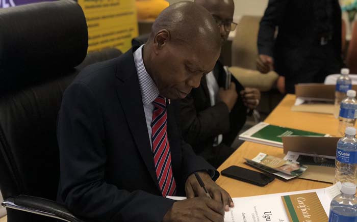 Health Minister Zweli Mkhize at the launch of the new TLD medication for HIV treatment on 27 November 2019 held in Ugu, in the KwaZulu-Natal south coast. Picture: @DrZweliMkhize/Twitter