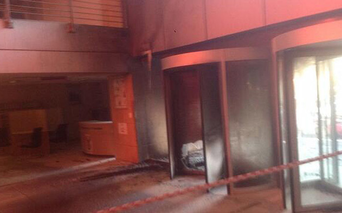The health department's reception area was set alight by an elderly man on Wednesday 2 July 2014 when staff refused to take him seriously. Picture: via Twitter