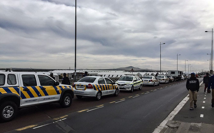 Police are on high alert as Dunoon residents protest on 22 March 2016. Picture: Thomas Holder.EWN.