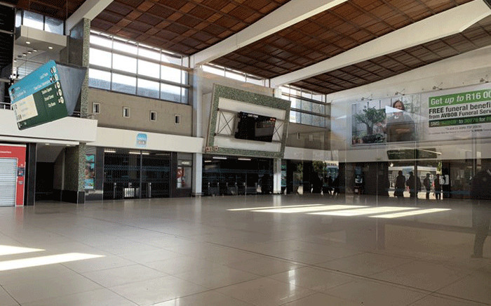 The doors of Cape Town train station were shut, with no commuters in sight, after Eskom cut power supply to the Western Cape rail network on 27 February 2020 Picture: Kaylynn Palm/EWN.