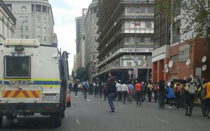 School pupils from Ekurhuleni, Pretoria and Johannesburg march in Johannesburg CBD. Picture: Intelligence Bureau SA via Facebook.