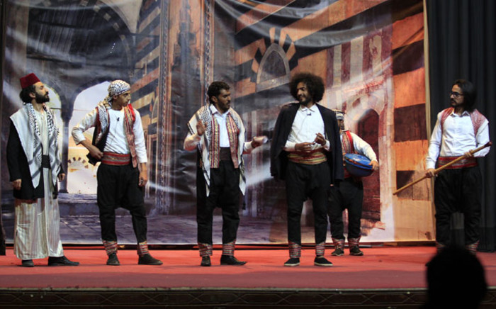 Yemeni actors rehearse on the eve of the premiere of a play entitled 'Yemeni Film', a comedic production that touches on the current struggles of local artists, in the capital Sanaa, on 23 December 2020. Picture: AFP