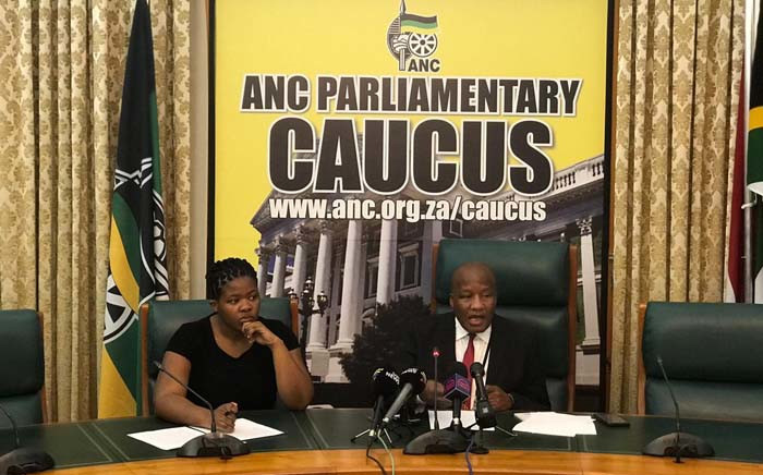 ANC Chief Whip Jackson Mthembu briefs the media on 22 November 2018 on President Cyril Ramaphosa about a R500,000 payment made from controversial security company Bosasa to his son Andile. Picture: @ANCParliament/Twitter