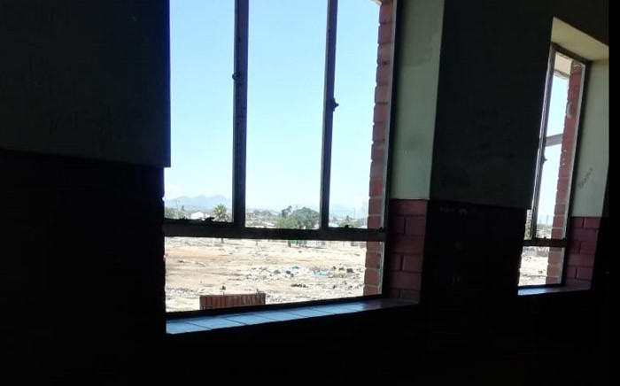 A view of a broken window at Modderdam High School, in Bonteheuwel, Cape Town. Picture: Supplied.