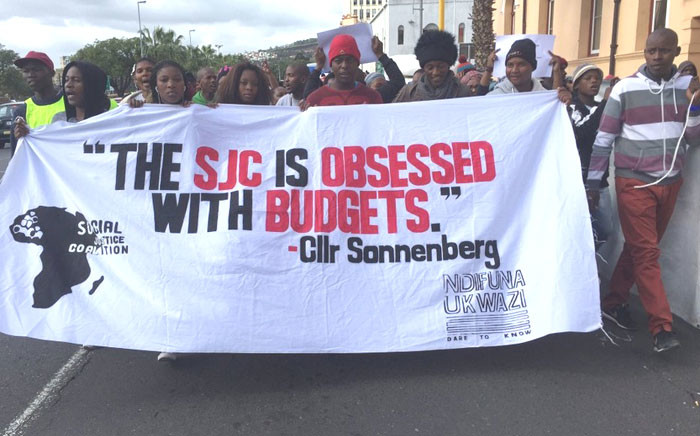 SJC activists march to the Cape Town Civic Centre to hand over a memorandum on the city's budget on 29 April 2016. Picture: Xolani Koyana/EWN.
