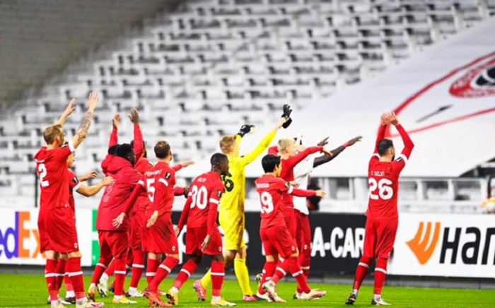 Royal Antwerp players celebrate after winning the UEFA Europa League football Group J first-leg football match between Royal Antwerp FC and Tottenham Hotspur FC at the Bosuilstadion in Antwerp on 29 October 2020. Picture: @official_rafc/Twitter