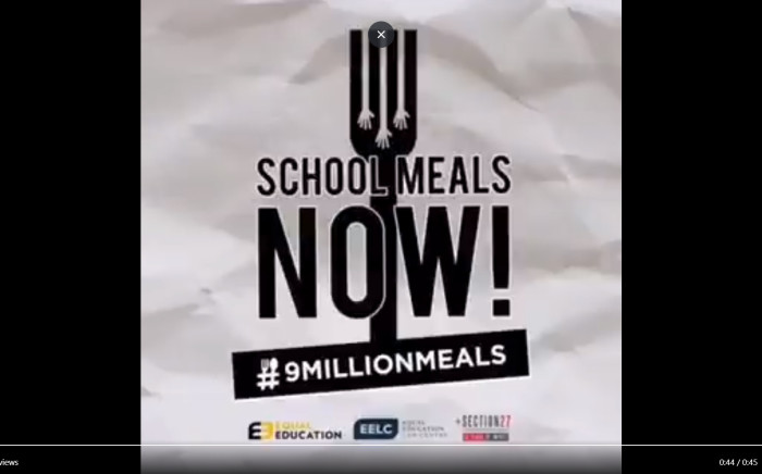 Screengrab from Equal Education's campaign video calling for the Department of Basic Education to feed pupils.
