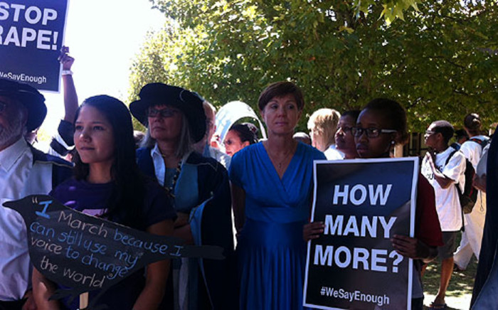 UCT staff and students recently protested against rape. Picture: Shamiela Fisher/EWN.