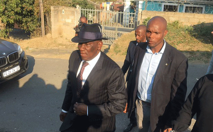 Police Minister Bheki Cele arriving at the Meyiwa house to bid farewell to the late Sam Meyiwa, the father of deceased soccer star Senzo Meyiwa. Picture: Nkosikhona Duma/EWN.