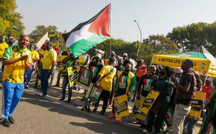 ANC members picket outside the Israeli embassy in Pretoria on 25 May 2021 in solidarity with Palestine. Picture: Boikhutso Ntsoko/Eyewitness News.