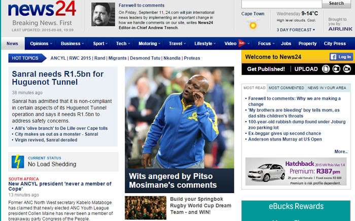 FILE: News24 announced this morning that it would no longer allow people to comment on its stories. Picture: Screengrab News24.com.