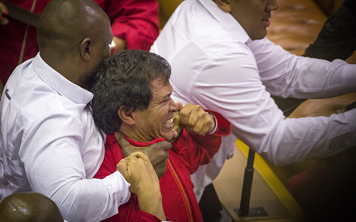 FILE: EFF MP Nazier Paulsen is forcefully removed from the National Assembly along with other party members on 17 May 2016. Picture: Aletta Harrison/EWN.