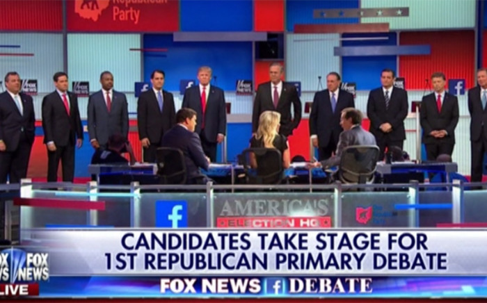Candidates take stage for the first republican primary debate.Picture: Screengrab/CNN