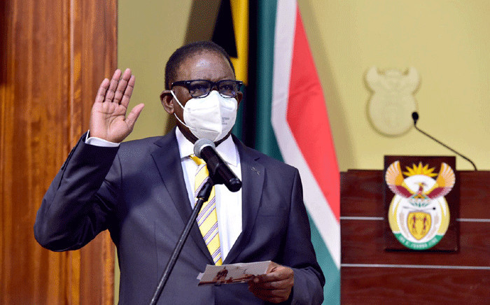 Finance Minister Enoch Godongwana being sworn in on 6 August 2021. Picture: GCIS.