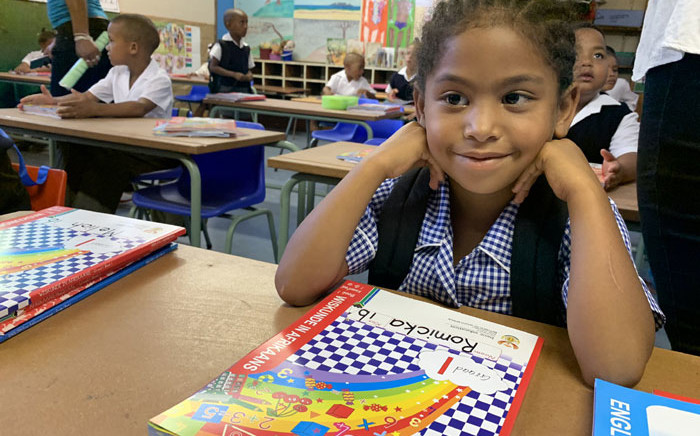 A Bergville Primary School grade 1 learner on the first day of school in the  Western Cape on 15 January 2020. Picture: Kaylynn Palm/EWN