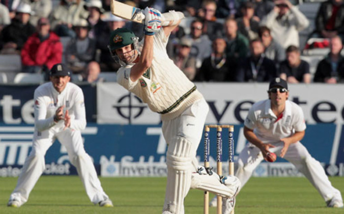 Australia's Nathan Lyonon bats during the Ashes cricket test match between England and Australia. Picture: AFP