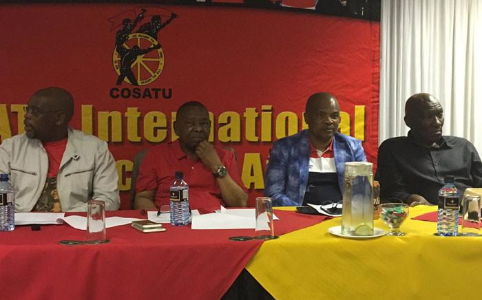 From L to R: Cosatu's Sdumo Dlamini, SACP's Blade Nzimande,KZN SANCO's Richard Hlophe & Bheki Cele at the shop stewards council in Durban. Picture: Ziyanda Ngcobo/EWN.