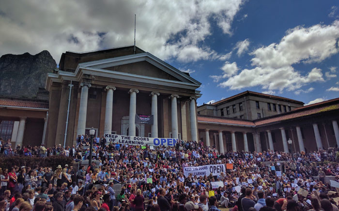 Students at the University of Cape Town are holding a silent demonstration in support of the resumption of lecture and academic activity. Picture: Supplied.
