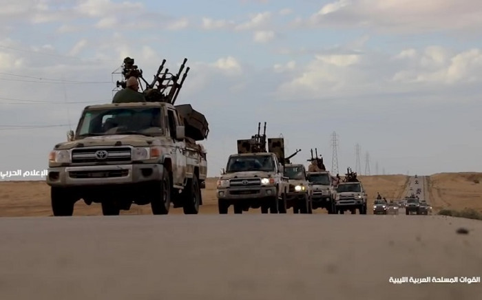 FILE: This grab obtained from a video published on the Libyan strongman Khalifa Haftar's self-proclaimed Libyan National Army War Information Division's Facebook page on 3 April 2019, allegedly shows military convoys heading towards western Libya and Tripoli, coming from the LNA controlled territory in the east. Picture: AFP