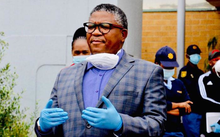Transport Minister Fikile Mbalula at the Sandton Police Station on 10 April 2020. Picture: @MbalulaFikile/Twitter