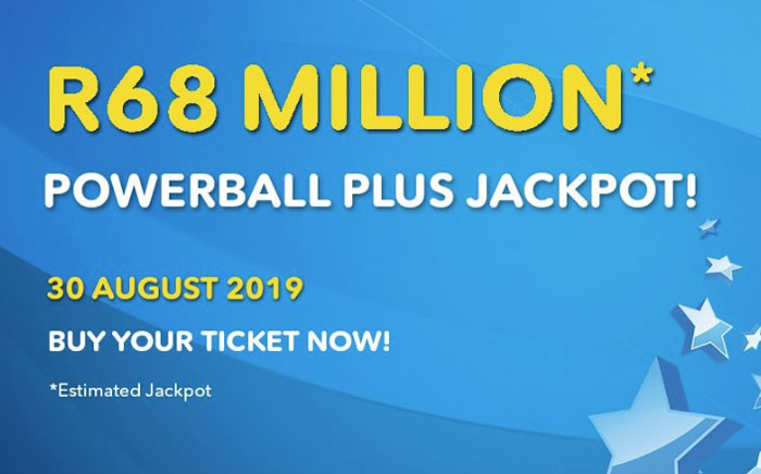 R68 million was the estimated PowerBall Plus jackpot on 30 August 2019. Picture: @sa_lottery/Twitter