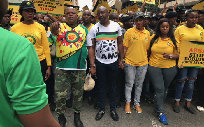 ANC Youth League leadership leads the march to ABSA in JHB CBD. Picture: Kgothatso Mogale/EWN.