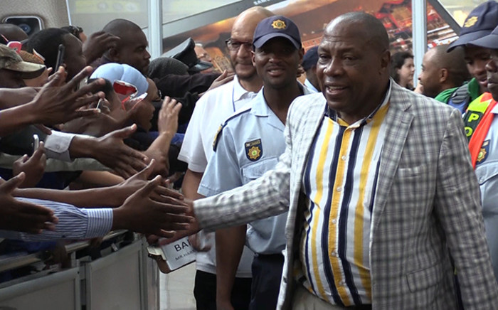 Bafana Bafana coach Shakes Mashaba receives a hero's welcome at the OR Tambo Internationa Airport as his team arrived from Nigeria, Thursday 20 November 2014. Picture: Vumani Mkhize/EWN.